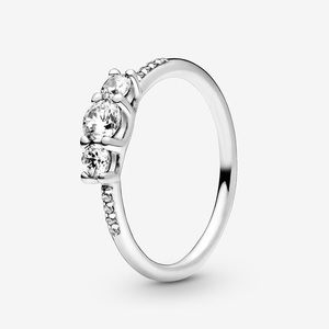 PANDORA Clear Three-Stone Ring Size 5 / 50